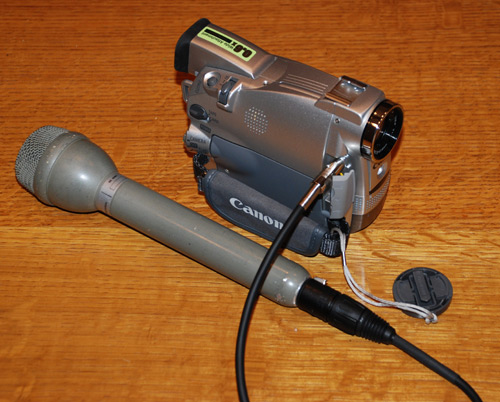 Video camera with external microphone